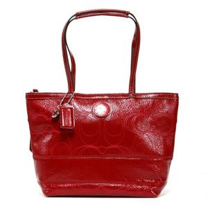 Coach Red Patent Leather Logo Pattern Tote